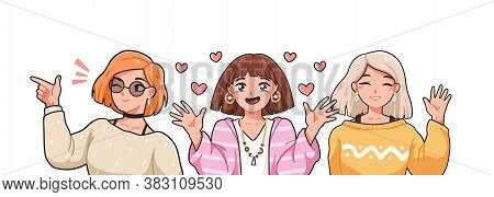 Group Of Funny Female Anime Characters Vector Illustration In Japanese Manga Style. Portrait Of Thre
