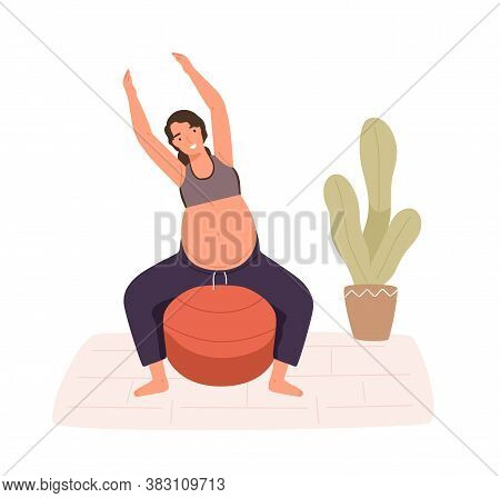 Pregnancy Woman Practicing Workout On Aerobic Ball Vector Flat Illustration. Happy Female With Big P