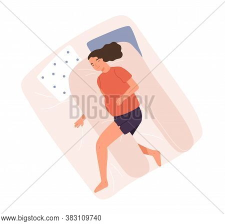 Happy Woman With Big Tummy Sleeping On Pillow For Pregnant Vector Flat Illustration. Female Relaxing