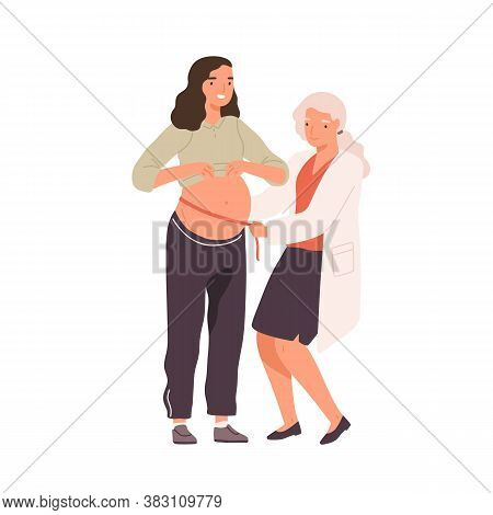 Female Doctor Measuring Belly Of Pregnant Woman Use Tape Line Vector Flat Illustration. Future Mothe