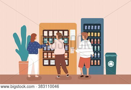 Children Buying Snack And Beverage At Vending Machine Vector Flat Illustration. Group Of Kids Choosi