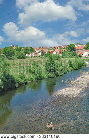 Village Of Breitungen At Werra River In Thuringia,germany
