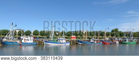 Shrimp Boats In Harbor Of Buesum At North Sea,north Frisia,schleswig-holstein,germany