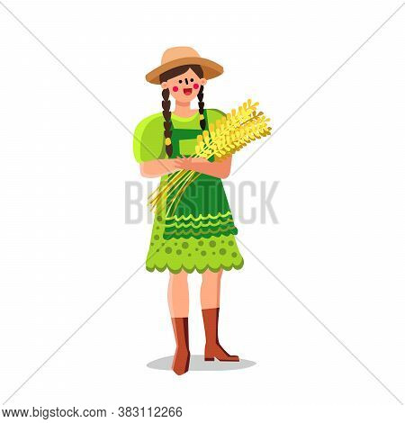 Sheaf Of Wheat Holding Village Young Woman Vector