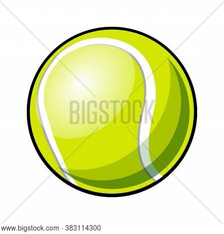 Tennis Ball Vector Illustration Isolated On White Background. Ideal For Logo Design, Sticker, Decal