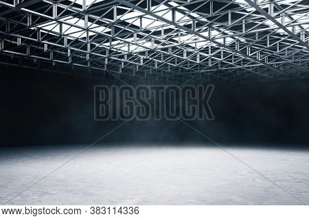 Contemporary Large Warehouse With Metal Structure On Ceiling. Industry And Style Concept. Mock Up, 3