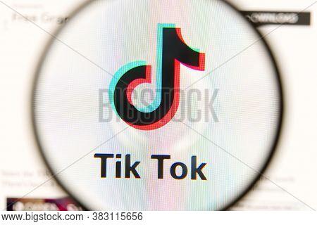 Estonia, Tallinn - August 30.08.2020: Tik Tok Social Media App Icon Under Magnifying Glass Shoot Fro