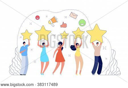 Review Rating. Good Rate, People Giving Feedback. Client Or Customer Online Score, Five Star Rank Or