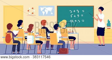 Children In Classroom. School Teacher, Boy Girl On Lesson In Room. Math Teaching, Science And Enviro