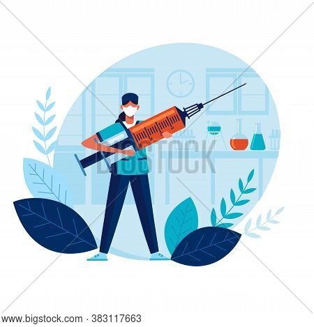 Vaccine Doctor Holds Large Syringe With Vaccine. Health Concept. Vaccine Creation. Doctor Prevents E