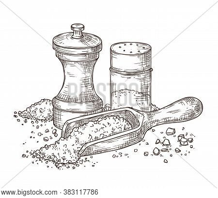 Sea Salt. Sketch Seasoning, Engraving Pepper Shaker And Spoon With Powder. Glass Packing, Kitchenwar