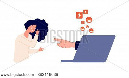 Cyberbullying And Harassment. Social Network Pressure, Internet Aggression. Young Depressed Girl Cri