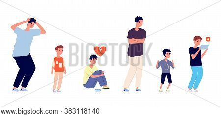 Emotional Male Characters. Different Ages Men, Isolated Sad Boy Teens And Adult. Crying Little Kid,
