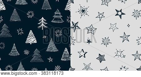 Fir Tree Stars Pattern. Christmas New Year Background, Xmas Tree And Decorations Illustration. Winte