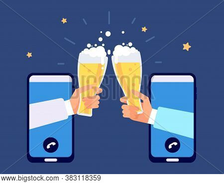 Online Beer Party. Internet Friendship, Friends Drinking By Smartphone. Phone Party, E-bar Oktoberfe