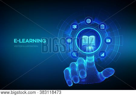 E-learning. Innovative Online Education And Internet Technology Concept. Webinar, Teaching, Online T