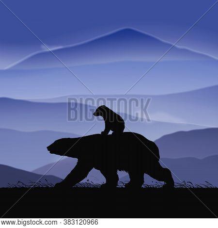 Polar Bears Family Walking In Grass. Animal Baby Silhouette On Back Of Mother At Dusk. Background Wi