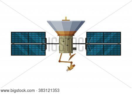 Artificial Space Satellite, Cosmos Exploration, Space Technology Theme Flat Vector Illustration On W