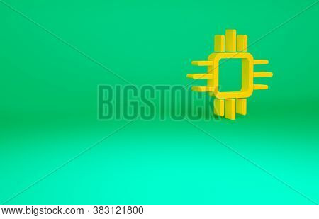 Orange Computer Processor With Microcircuits Cpu Icon Isolated On Green Background. Chip Or Cpu With