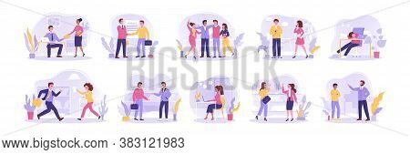 Team, Contract, Recruitment, Negotiation, Communication, Business Set. Team Of Business People Busin