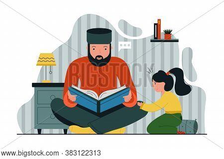 Religion, Islam, Leisure, God, Allah, Fatherhood, Childhood Concept. Young Muslim Dad Reading Quran