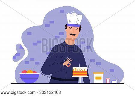 Cooking, Decoration, Profession, Creativity, Work Concept. Young Man Guy Cooker Confectioner Prepari