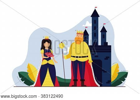 History, Monarchy, Cosplay, Dramatization Concept. Young Woman Queen In Tiara And Old Man King With