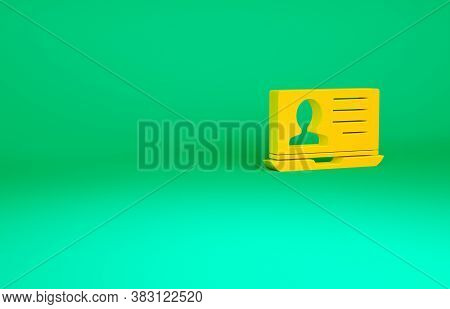 Orange Laptop With Resume Icon Isolated On Green Background. Cv Application. Searching Professional