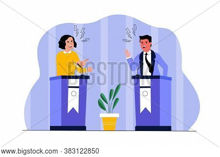 Politics, Meeting, Leadership, Communication, Election Concept. Young Man And Woman Politicians Lead