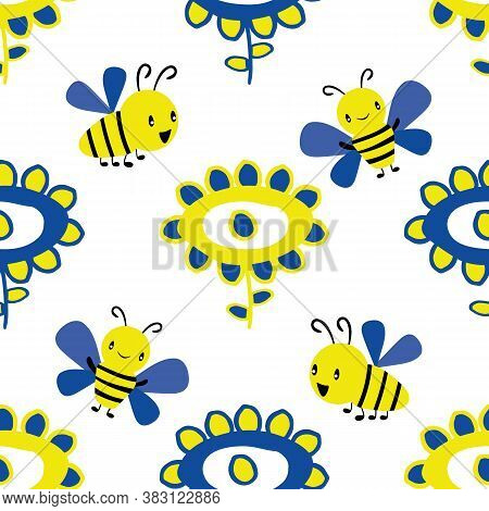 Vector Childlike Drawing Of Flowers And Kawaii Style Bees Seamless Pattern Background. Simple Yellow