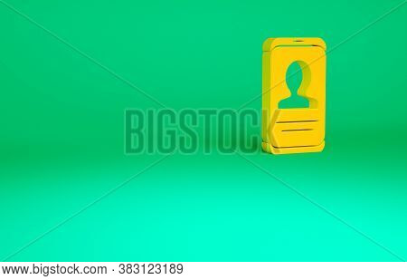 Orange Mobile With Resume Icon Isolated On Green Background. Cv Application. Searching Professional