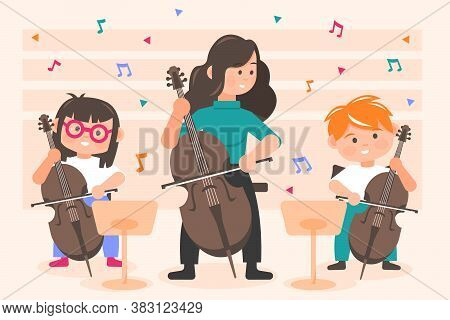 Perfomance, Orchestra Concept. Little Happy Children Kids Boy And Girl Playing Cello With Woman Teac