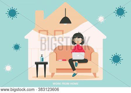 Quarantine, Coronavirus, Covid19 Concept. Woman Girl Freelancer Sitting At Home Working At Laptop. S