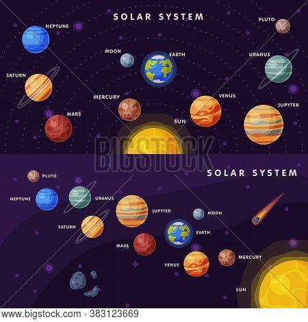 Solar System Banner Set, Earth, Saturn, Mercury, Venus, Earth, Mars, Jupiter, Saturn, Uranus, Neptun