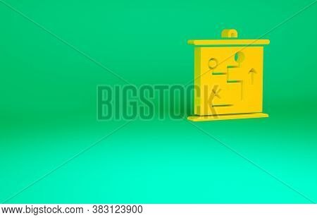 Orange Planning Strategy Concept Icon Isolated On Green Background. Cup Formation And Tactic. Minima