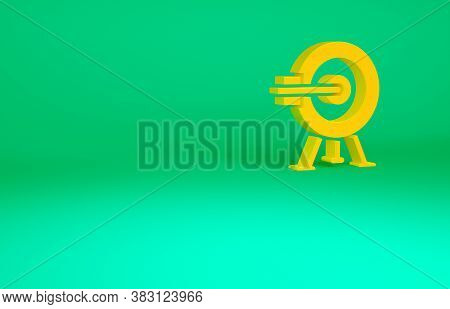 Orange Target With Arrow Icon Isolated On Green Background. Dart Board Sign. Archery Board Icon. Dar