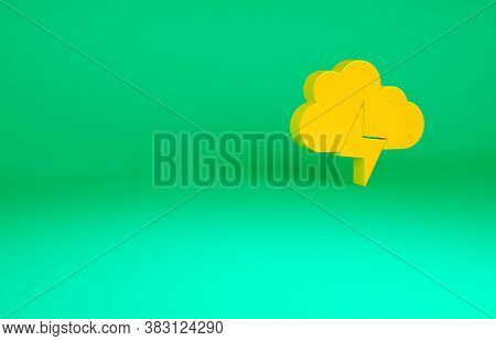 Orange Storm Icon Isolated On Green Background. Cloud And Lightning Sign. Weather Icon Of Storm. Min