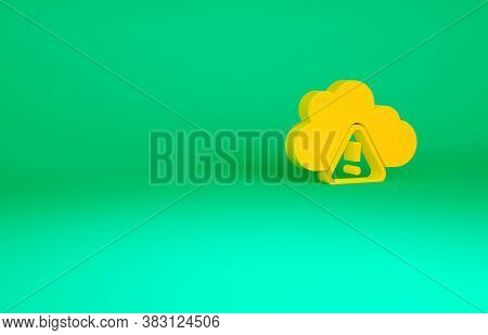 Orange Storm Warning Icon Isolated On Green Background. Exclamation Mark In Triangle Symbol. Weather