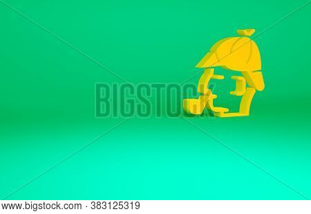 Orange Sherlock Holmes With Smoking Pipe Icon Isolated On Green Background. Detective. Minimalism Co