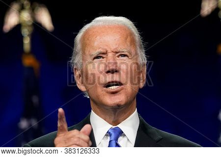 Washington Dc,united States,february 2020,democratic Party Presidential Candidate Joe Biden In Press