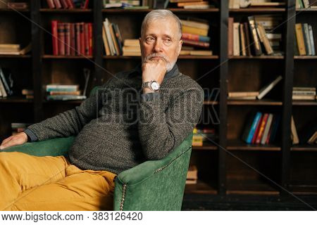 Portrait Of Pensive Bearded Gray-haired Senior Male, Thoughtfully Holding Fist Hand Near Chin, Sitti