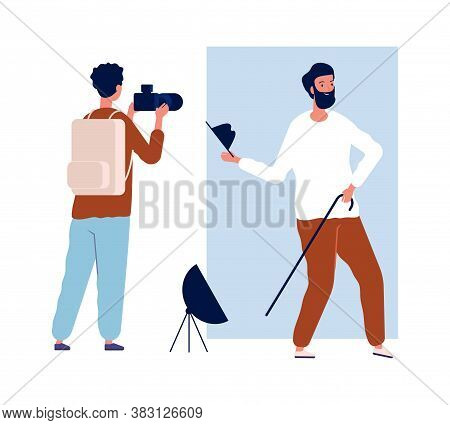 Actor Photo Session. Male Photographer And Creative Man. Photo In Studio Vector Illustration. Photog