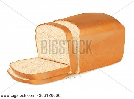 Slices Bread. Realistic Fresh Bakery Products Stack Of Baguette Vector Delicious Bread. Bakery Bread