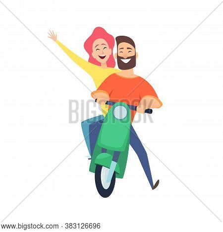 Scooter Ride. Happy Woman Man Riders. Cute Cartoon Couple On Date. Male Female Drivers Vector Illust