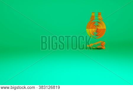 Orange Classic Dart Board And Arrow Icon Isolated On Green Background. Dartboard Sign. Game Concept.