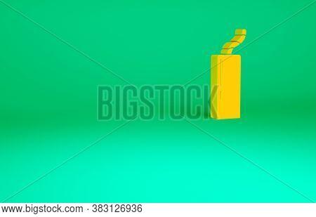 Orange Detonate Dynamite Bomb Stick And Timer Clock Icon Isolated On Green Background. Time Bomb - E