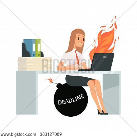 Deadline Time. Office Manager Typing On Computer. Bad Management, Girl Does Not Have Time To Pass Jo
