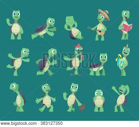 Turtles Cartoon. Comic Reptile Funny Characters In Various Action Poses Nature Wild Animals Vector T