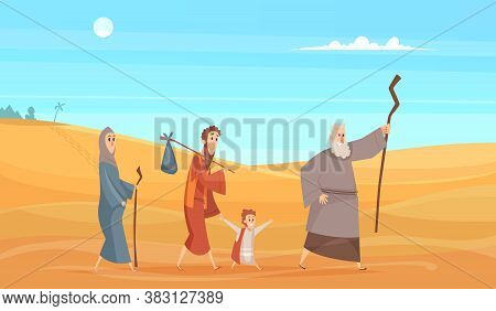 Journey Of Bible Characters. Narrative Historical Background Holy People Going In Dessert Landscape