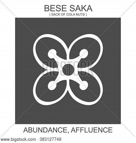 Vector Icon With African Adinkra Symbol Bese Saka. Symbol Of Abundance And Affluence